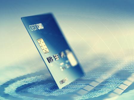 Wereldwijde elektronische internet credit card betaling en handel (3D plaatsing) Stockfoto