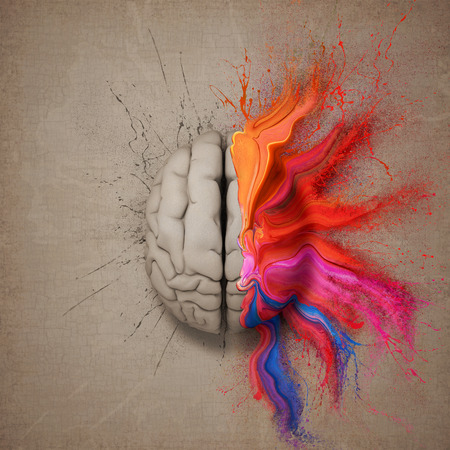 Creative mind or brain illustrated with colourful paint splatter and dispersion. Conceptual computer artwork.