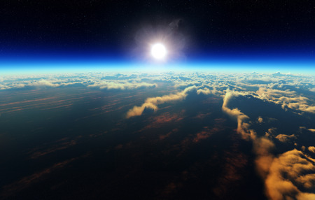 행성 지구 우주 공간에서 흐린 바다 위로 일출 (3d 아트웍)