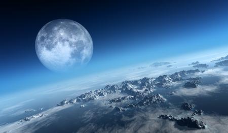 행성 지구 얼음 바다와 우주에서 본 달과 바위 섬 (NASA에서 3d 아트에 대한 질감 moonmap) 스톡 콘텐츠