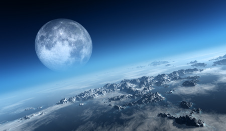 Planet Earth icy ocean and rocky islands with moon seen from space (Texture moonmap for 3d art from NASA) Reklamní fotografie