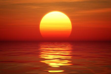 Golden Sunset sur l'eau calme (en illustration numérique) Banque d'images - 47662715