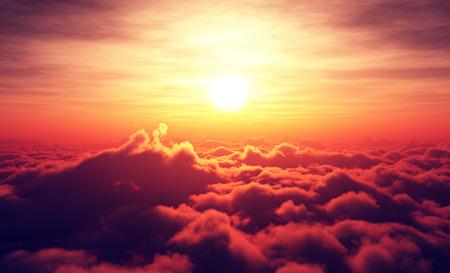 Golden Sunrise above puffy clouds Digital artwork