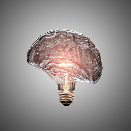 Glowing Light Bulb with the glass shaped as a Brain. This 3D illustration is conceptual of an active, creative, thinking mind or idea.