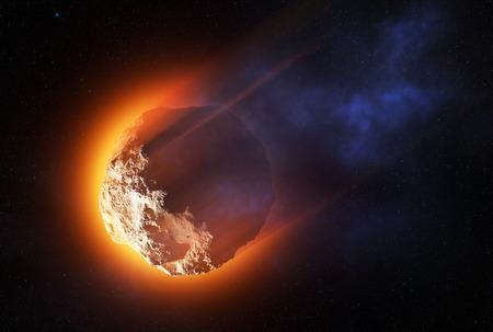 높은 속도로 분위기를 입력 하 고 -3D 작품을 구울 소행성의 근접 스톡 콘텐츠