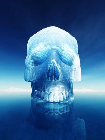 인간의 두개골 모양에 빙산이. 빙산이나 북극 붕괴의 고유 위험 개념적 이미지