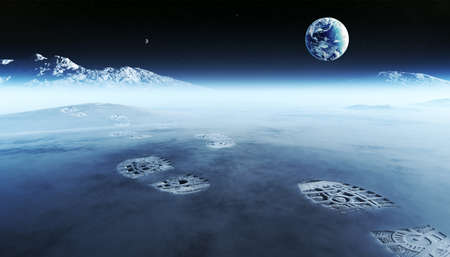 Conceptual artwork of mankind exploring space and alien planets. Footprints are the evidence left behind with the view of earth in distant space