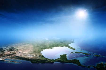 북미 일출 공중보기 배경 (NASA가 제공하는이 3D 렌더링 이미지 요소) 스톡 콘텐츠