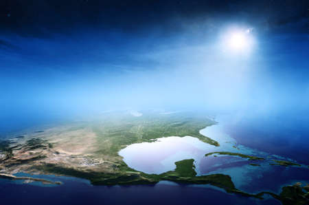 North America sunrise aerial view background  (Elements of this 3D rendered image furnished by NASA) Reklamní fotografie