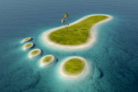 열 대 푸른 바다 물에 둘러싸여 발자국 형태로 하얀 해변과 녹색 섬. 환경 친화적 인 3D와 환경에 미치는 영향 스톡 콘텐츠