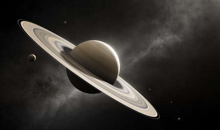 Planet Saturn in deep space with major moons according to scale (Elements of planet texture for 3d render furnished)