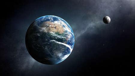 은하수와 우주의 지구와 달 스톡 콘텐츠