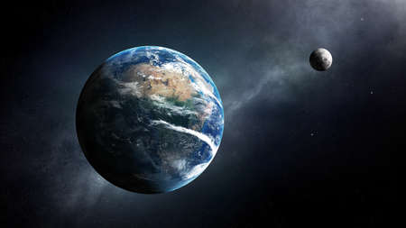 Earth and moon in space with milky-way