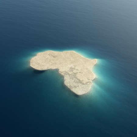 L'Afrique est illustrée comme une île entourée par l'eau tropicale des océans bleus. Image d'arrière-plan 3D conceptuelle à utiliser dans les dessins Banque d'images - 72215751