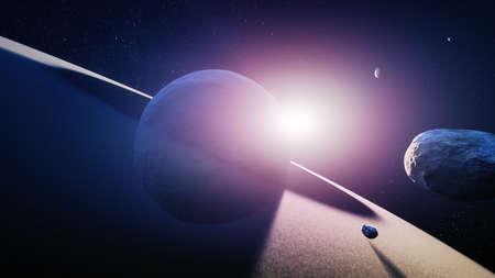 Artist illustration (3D render) of sunrise over the rings of planet Saturn
