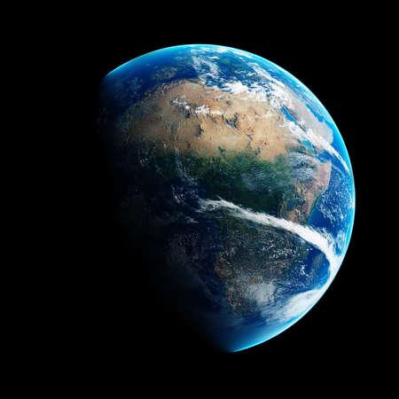 낮과 밤에 푸른 지구는 아프리카에 삽화가. 검은 배경에 상세한 3D 렌더링 (NASA에서 제공하는이 렌더링의 요소)