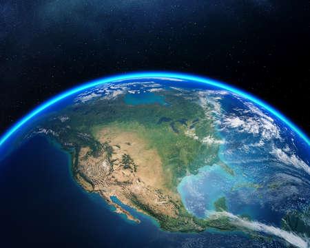북미에 초점을 맞춘 우주에서 본 지구.