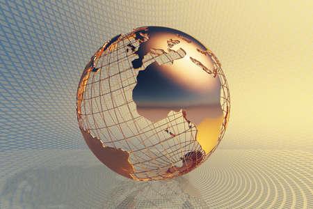 World global business design with abstract hi-tech golden metal background (3D render map reference from NASA) Reklamní fotografie - 96156822