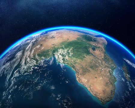 아프리카에 초점을 맞춘 우주에서 본 지구입니다. 어두운 별이 빛나는 밤하늘에 대 한 자세한 렌더링합니다. NASA의 이미지 맵)