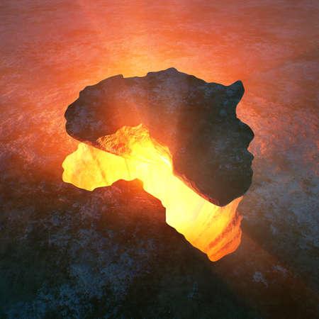 단단한 바위로서의 아프리카 대륙은 지구의 붉은 뜨거운 구멍에서 찢어졌습니다. 개념적 3D 렌더링 작품 스톡 콘텐츠