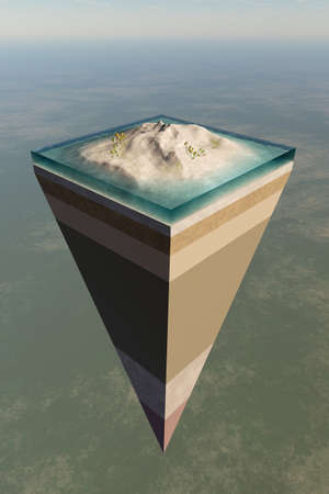 Earth core structure illustrated with a layered cross-section shown high in the sky. 3D rendered artwork