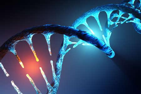 Conceptual image of human DNA illustrating targeted alteration, manipulation or modification. 3D rendering artwork