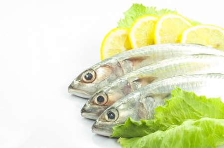 Fresh fish with lemon and salad. Isolated white background photo