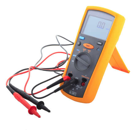 multimeter: An Insulation tester in ready mode isolated on white background Stock Photo