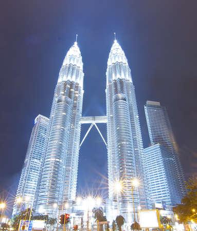 KUALA LUMPUR, MALAYSIA - JANUARY 06: Night view of The Petronas Twin Towers on November 03, 2011 in Kuala Lumpur, Malaysia. The skyscraper (451.9m88 floors) is the tallest twin buildings in the world.