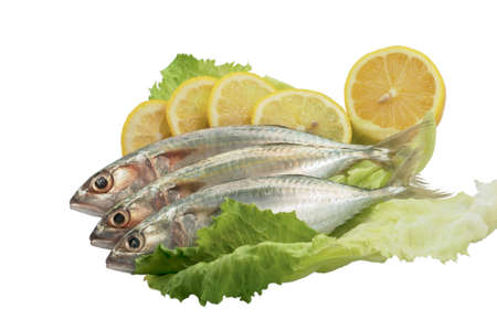 Fresh fish with lemon and salad. Isolated on white background. photo