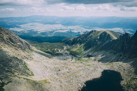 High Tatras mountains in Slovakia from drone point of view.