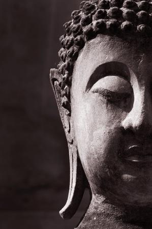famous paintings: Ancient Buddha face, Ayutthaya, Thailand