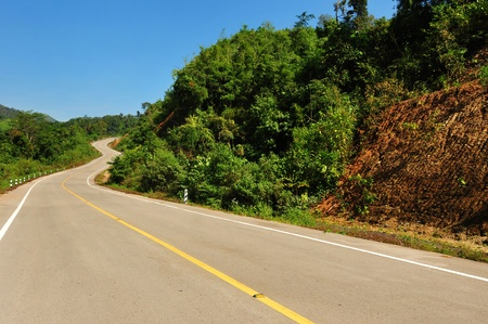 Country road,Empty curved road and blue sky Stock Photo - 11785309