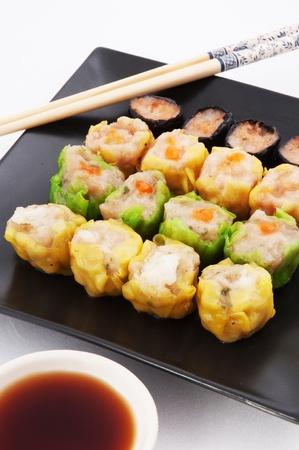 Dim sum, Chinese steamed pork and shrimp dumplings