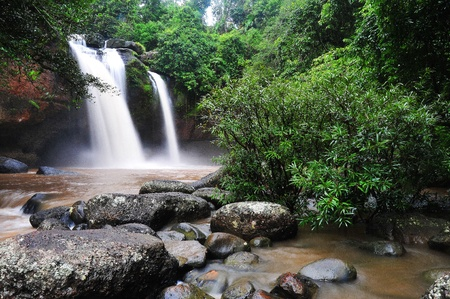 Waterfall in rain forest.thailand photo