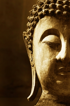 famous painting: Ancient Buddha face, Ayutthaya, Thailand