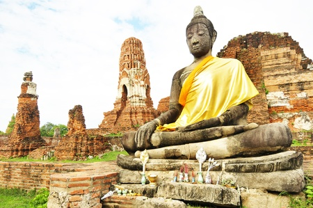 Ancient damage buddha statue in Ayutthaya, Thailand