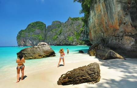 Maya bay of Phi-Phi island,Krabi,Thailand  Stock Photo