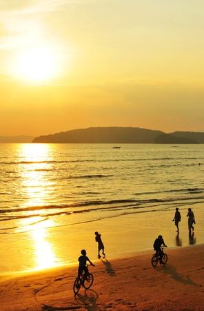 Sunset at Ao Nang beach, south of Thailand  photo