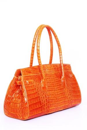 Natural Leather Handbag Isolated On White Background
