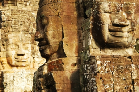 Face in Bayon temple, Angkor, Cambodia                           Stock Photo