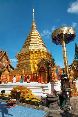 chiang mai: Popular Buddhist Temple of Wat Phrathat Doi Suthep in Chiang Mai, Thailand