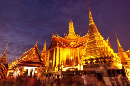 The Royal Pantheon at Wat Phra Kaew in Bangkok, home of the Emerald Buddha, at night  Editorial