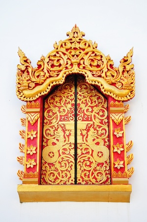 entrance gate: Traditional Thai style window temple  Stock Photo