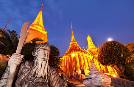 Wat Phra Si Rattana Satsadaram or Wat Phra Kaew at night in Bangkok, Thailand  photo