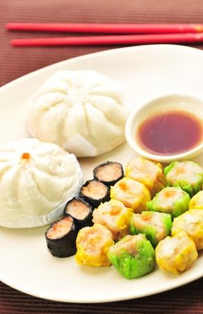 dim sum: Dim sum, Chinese steamed pork , shrimp dumplings and steamed buns