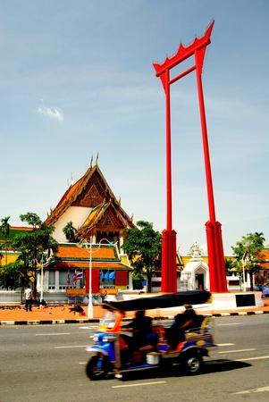 bangkok landmark: Giant swing and tak tak ,Suthat Temple, Bangkok, Thailand