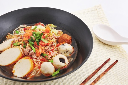 Hot and Spicy noodle soup with fish ball