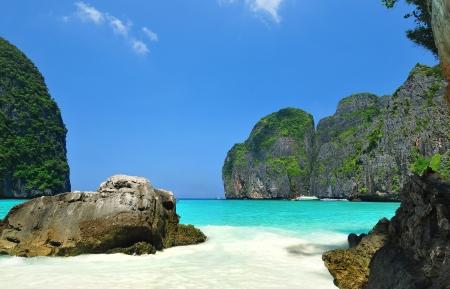 Maya bay of Phi-Phi island,Krabi,Thailand  Stock Photo