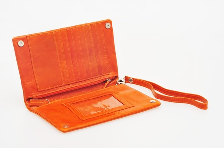 orange wallet isolated on white background Stock Photo - 12890086